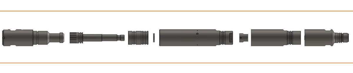 """exploded"" view of a ballistic release tool"
