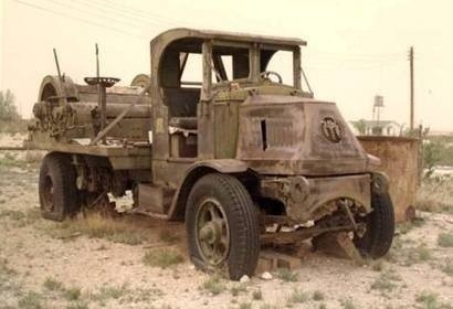 An abandoned, vintage wireline truck