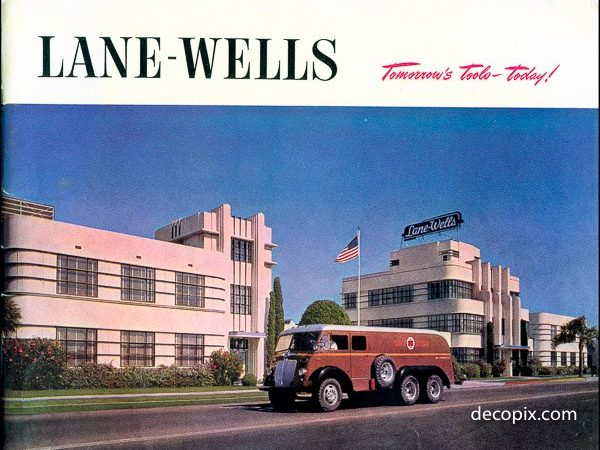 Wireline artistry: Image of Lane-Wells Company's art deco headquarters from the early-mid 20th century.