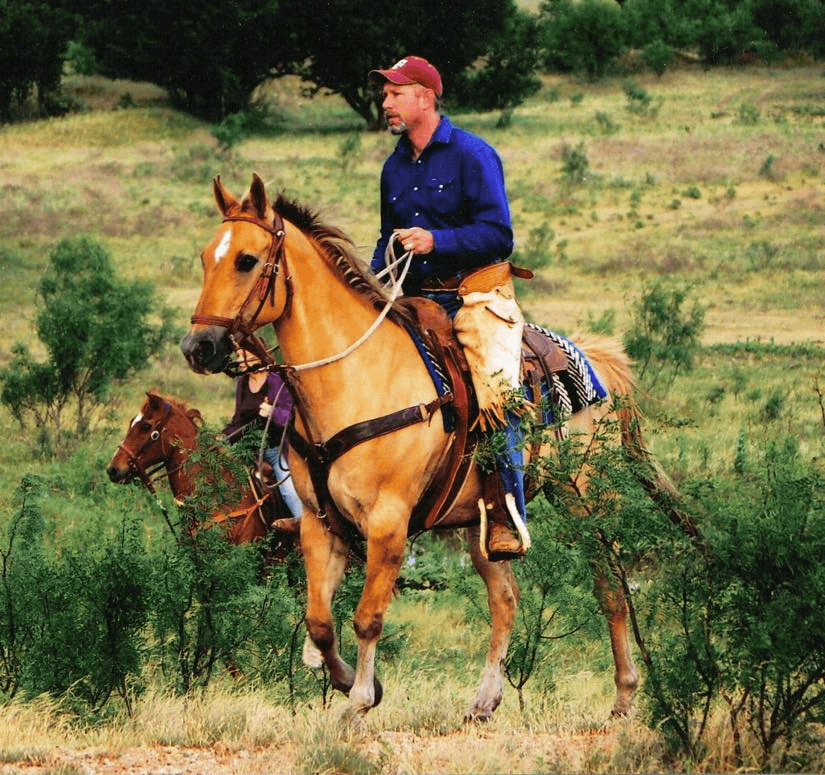 Kit Payne, seen here horseback, works as Safety Manager at Integrity Wireline
